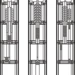 間仕切り3連ステンドグラス【フランク・ロイド・ライト調】01 – 構想・デザイン