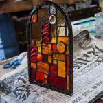 フュージングで作った自家製ナギットを使ったステンドグラスパネル②【コパー技法制作編】